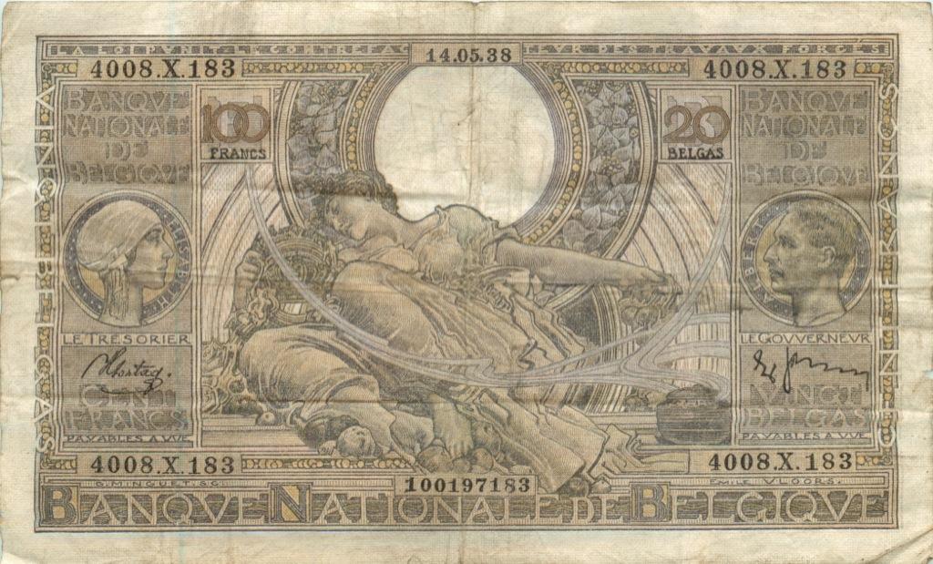 100 франков 1938 года (Бельгия)