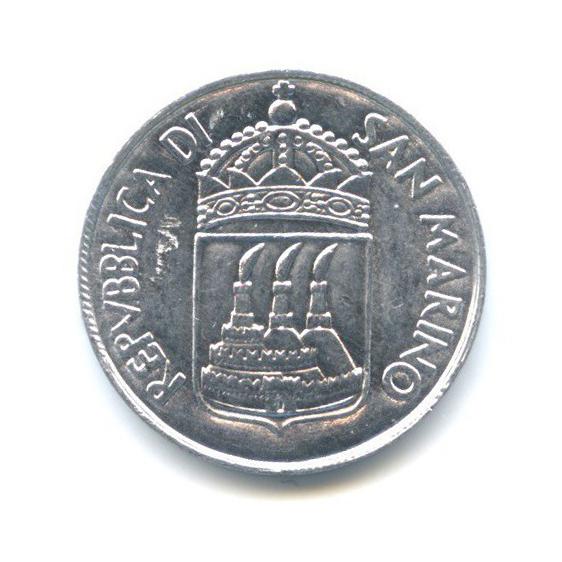 1 лира - Девушка снациональным флагом 1973 года (Сан-Марино)