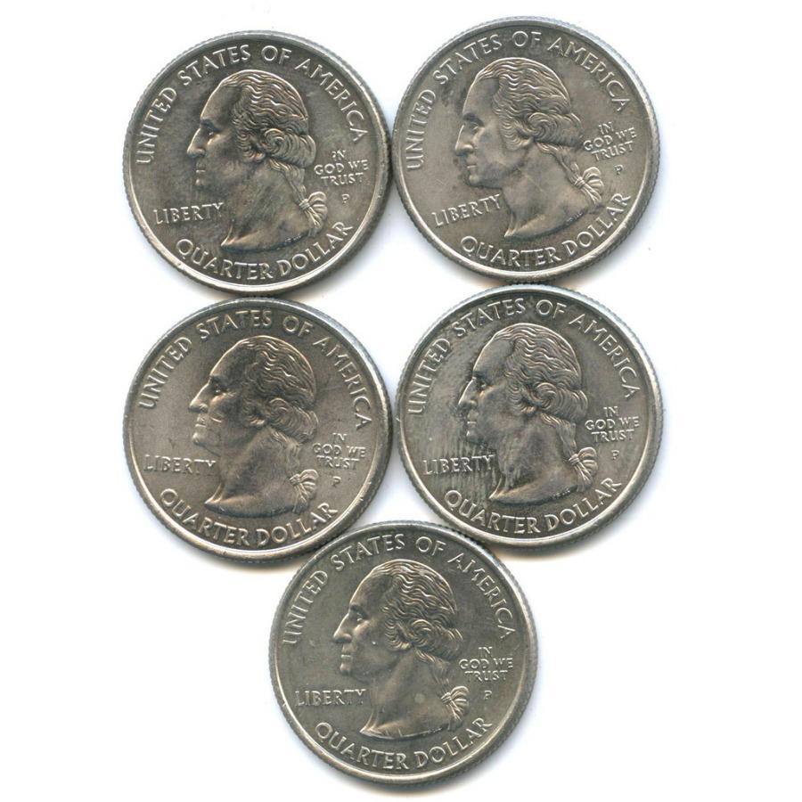 Набор монет 25 центов (квотер) — Штаты итерритории 2005 года (США)