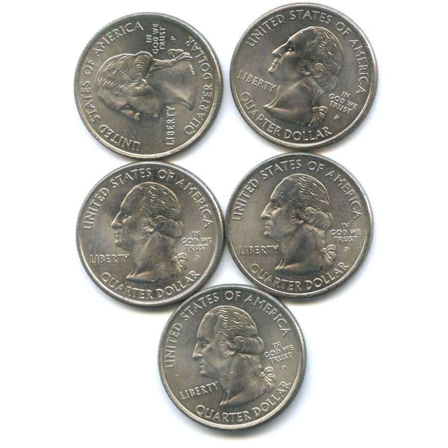 Набор монет 25 центов (квотер) — Штаты итерритории 2002 года (США)