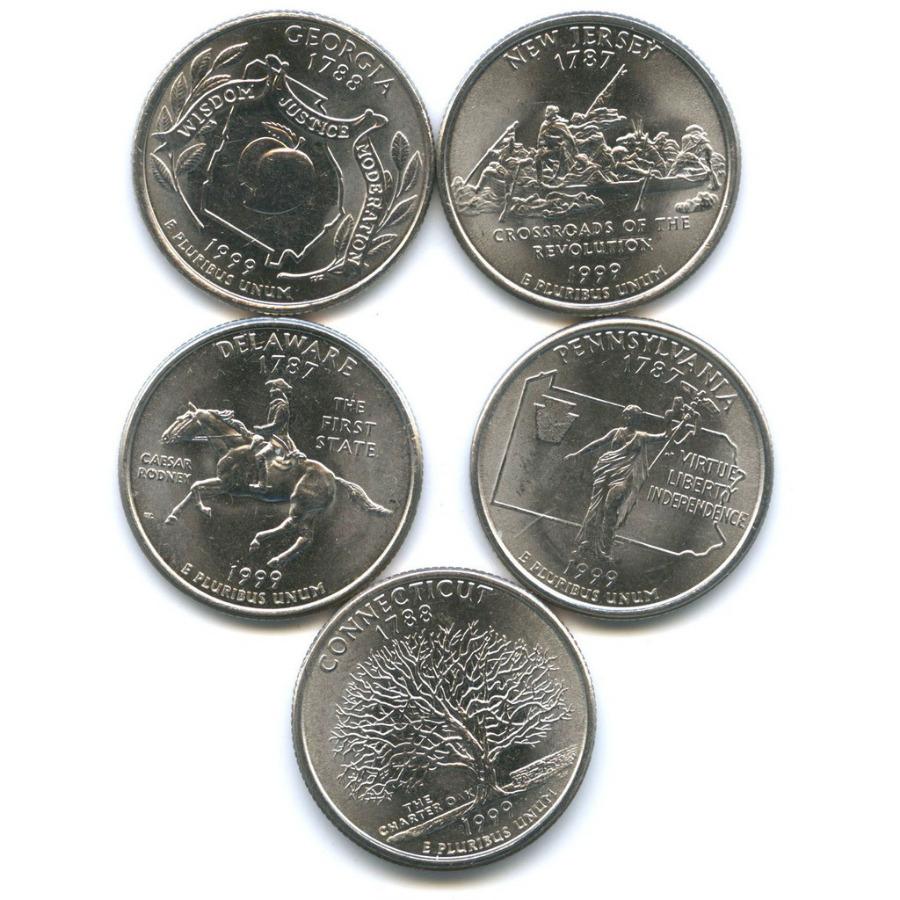 Набор монет 25 центов (квотер) — Штаты итерритории 1999 года (США)