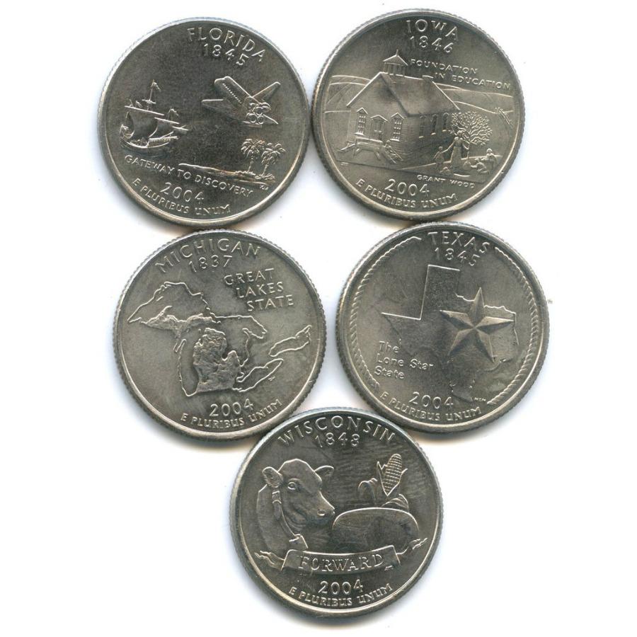 Набор монет 25 центов (квотер) — Штаты итерритории 2004 года (США)