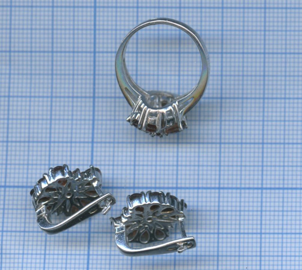 Серьги скольцом (серебро 925 пробы сгранатовыми вставками)