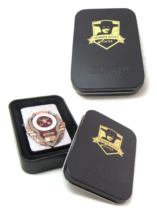 Зажигалка «Zorro» вфутляре (накладка - нагрудный знак «Отличный кладоискатель»)