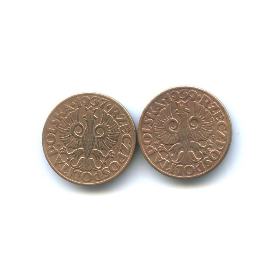 Набор монет 5 грошей 1937, 1939 (Польша)