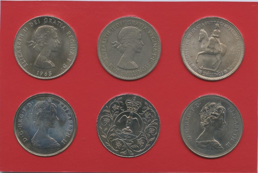 Набор юбилейных монет 25 пенсов (крона), вфутляре (Великобритания)