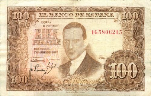 100 песет 1953 года (Испания)