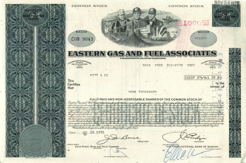 1000 акций («Eastern Gas And Fuel Associates») 1975 года (США)