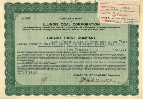 5000 долларов («Illinois Coal Corporation») 1925 года (США)