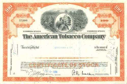 100 акций («The American Tobacco Company») 1966 года (США)