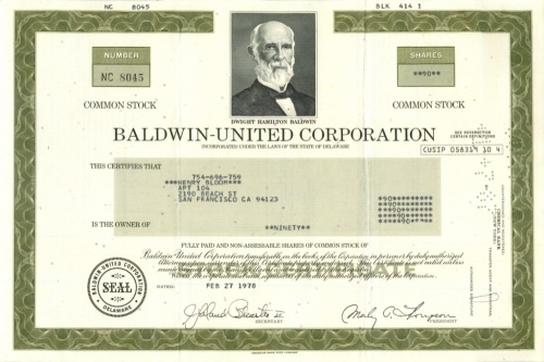 90 акций («Baldwin-United Corporation») 1978 года (США)