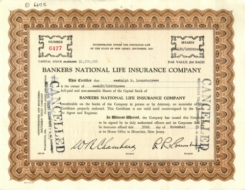 1000 акций («Bankers National Life Insurance Company») (США)