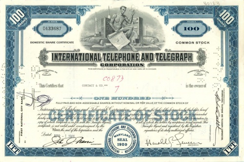 100 акций («International Telephone And Telegraph») 1966 года (США)
