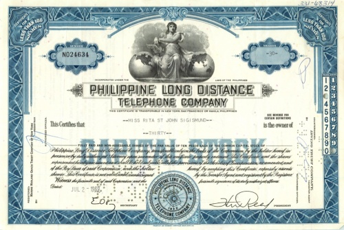 30 акций («Philippine Long Distance Telephone Company») 1969 года (США)