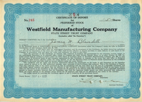 5 акций («Westfield Manufacturing Company») 1929 года (США)