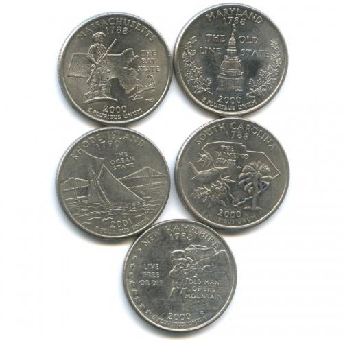 Набор монет 25 центов (квотер) - Штаты итерритории 2000, 2001 (США)