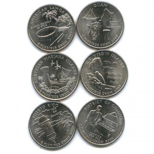 Набор монет 25 центов (квотер) — Штаты итерритории 2009 года (США)