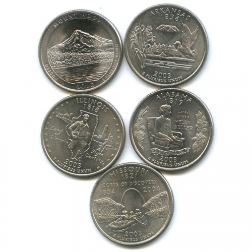 Набор монет 25 центов (квотер) — Штаты итерритории 2003, 2010 (США)
