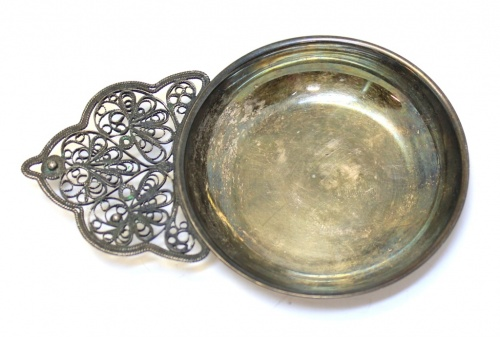 Солонка (скань, мельхиор, клеймо «5ЮММЕТ», диаметр 6,5 см)