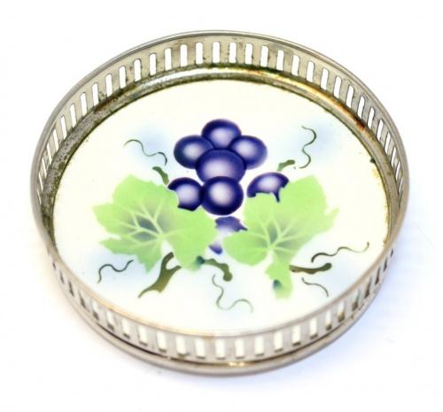 Подставка (серебрение, керамика, клеймо, BMF, диаметр 7,5 см) (Германия)
