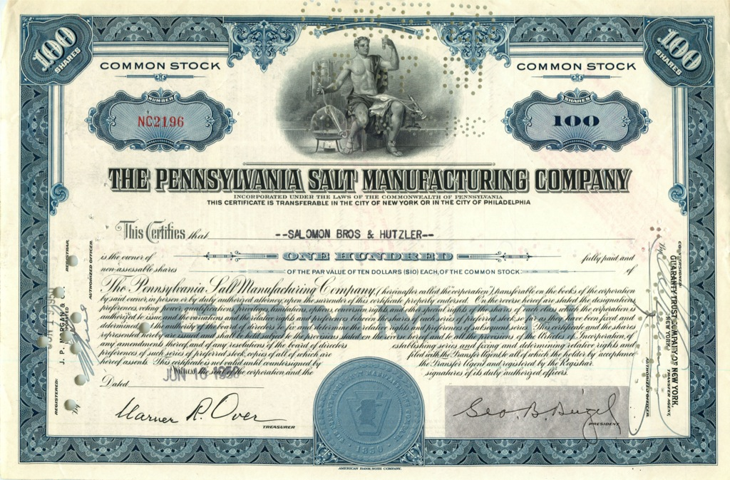 100 акций «The Pennsylvania Salt Manufactures Company» 1950 года (США)