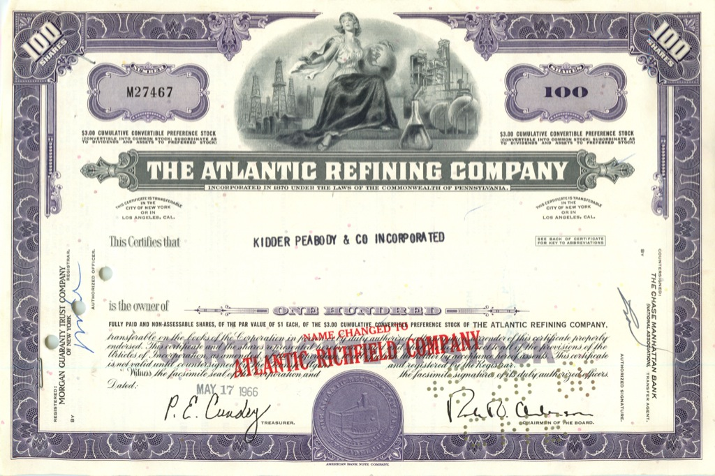 100 акций «The Atlantic Refining Company» 1966 года (США)
