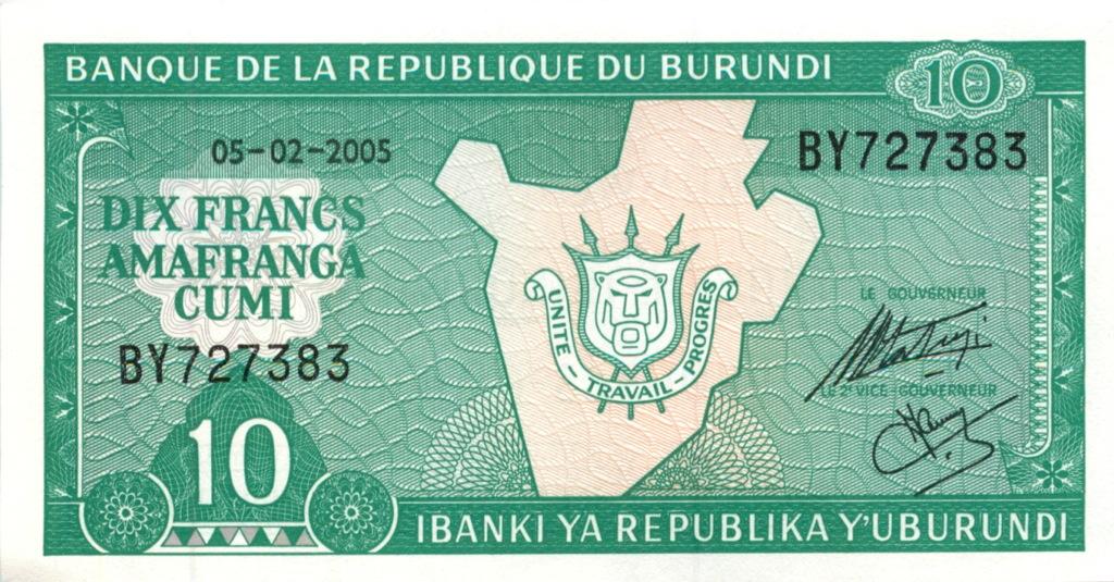 10 франков (Бурунди) 2005 года