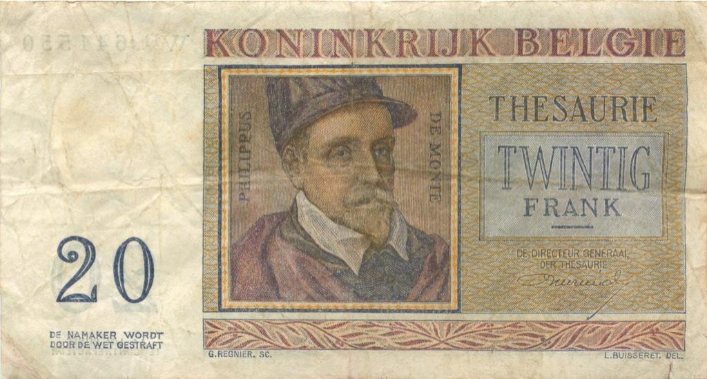 20 франков 1956 года (Бельгия)