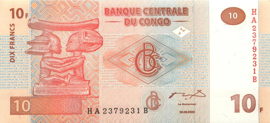 10 франков (Конго) 2003 года