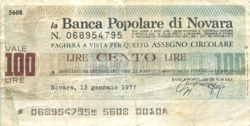 100 лир (Новара) 1977 года (Италия)