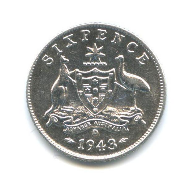 6 пенсов 1943 года D (Австралия)