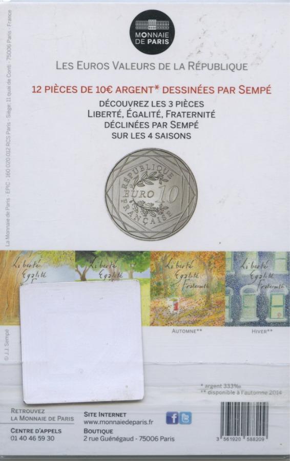 10 евро - Ценности Французской Республики - Равенство 2014 года (Франция)
