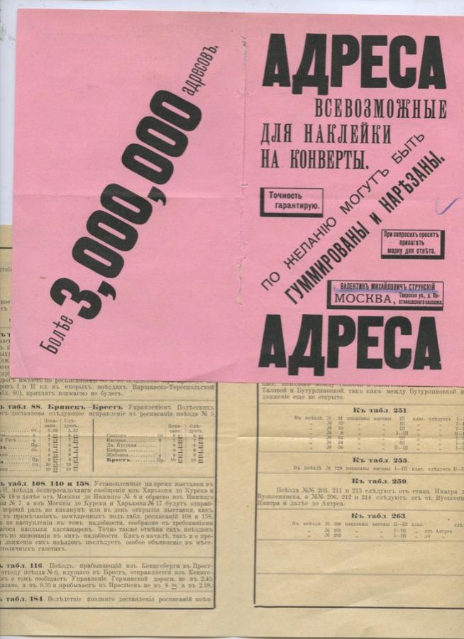 Набор справочных листовок (Российская Империя)
