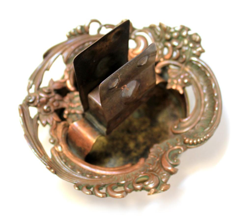 Пепельница сдержателем для коробка спичек (медь, латунь, 14 см)