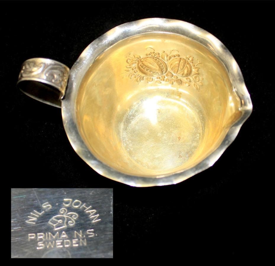 Сливочник-соусник (глубокое серебрение, клеймо «MILS JOHAN», 6,5×8 см) (Швеция)