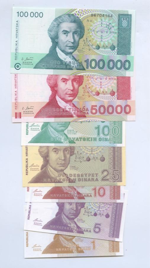 Набор банкнот 1991-1993 (Хорватия)