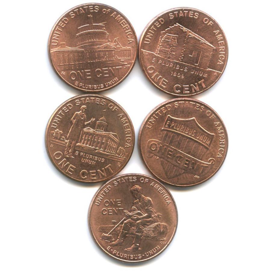 Набор юбилейных монет 1 цент 2009, 2010 (США)