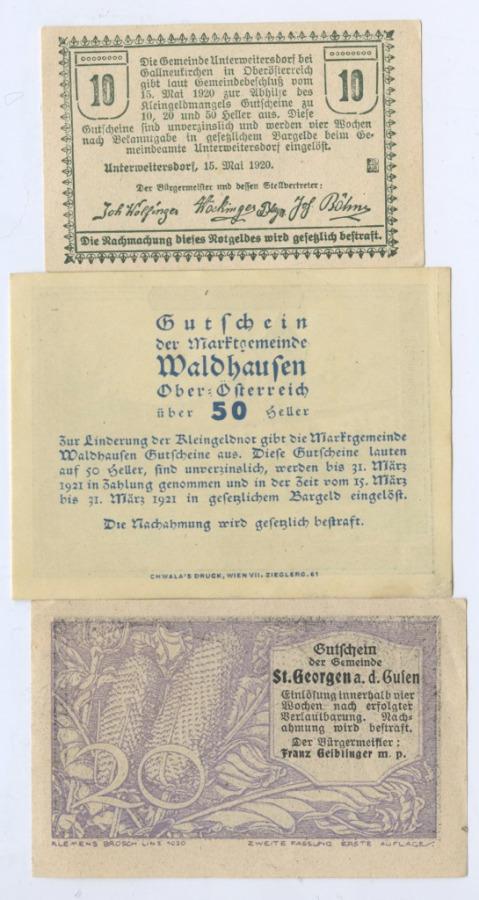 Набор банкнот (нотгельд) 1920, 1921 (Австрия)