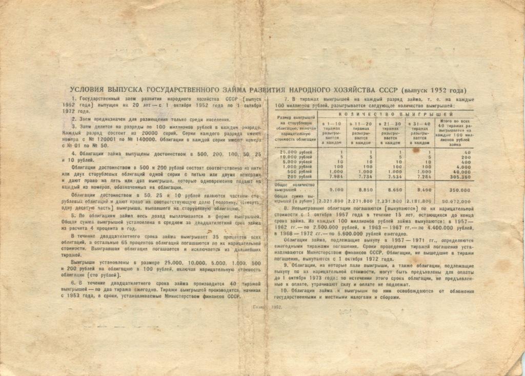 10 рублей (облигация) 1952 года (СССР)