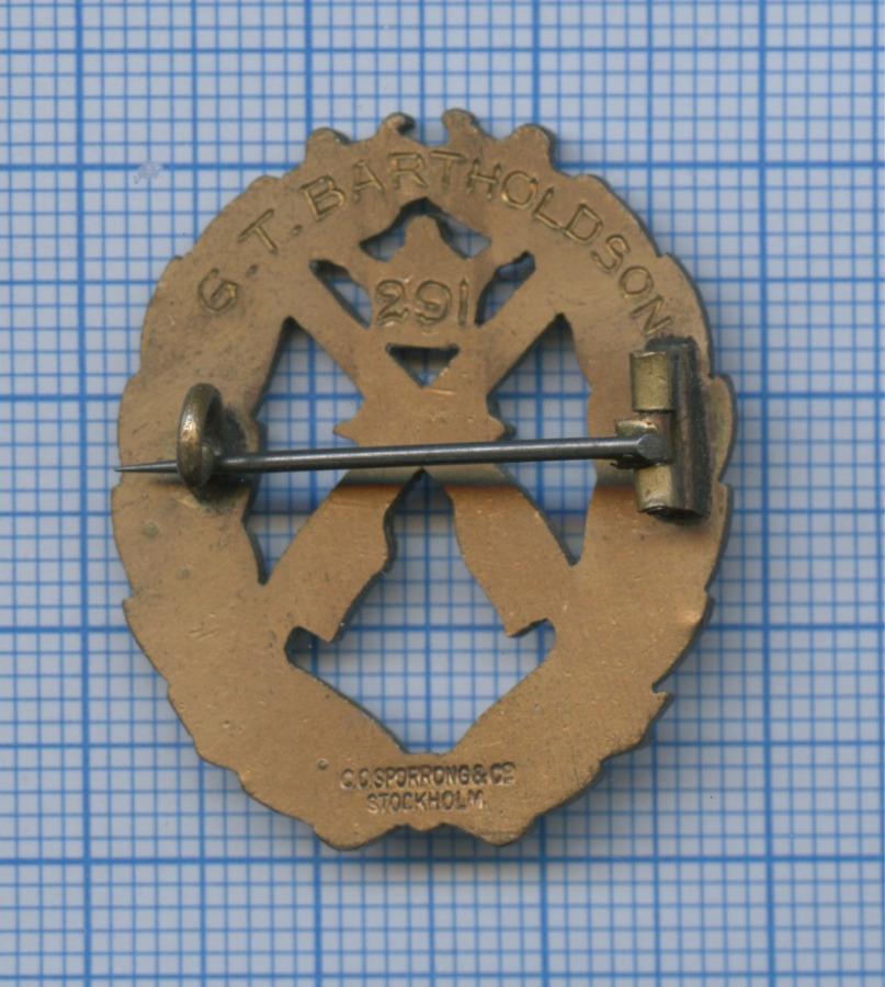 Знак «Заотличную стрельбу изпистолета», 3-я степень (Швеция)