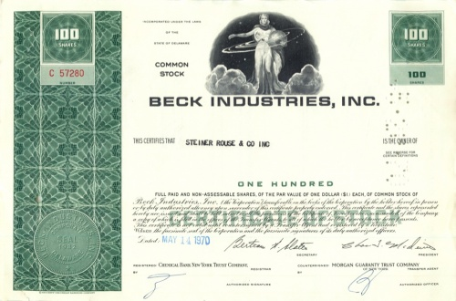 100 акций «Beck Industries, Inc» 1970 года (США)