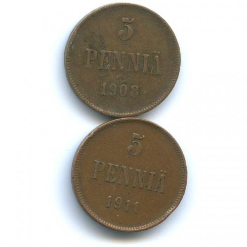 Набор монет 5 пенни 1908, 1911 (Российская Империя)