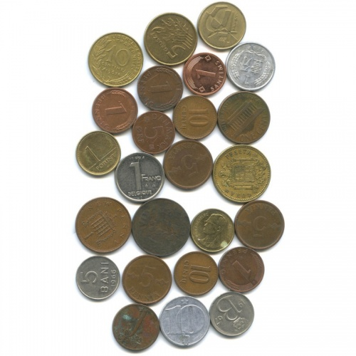 Набор монет, разные страны (25 шт)