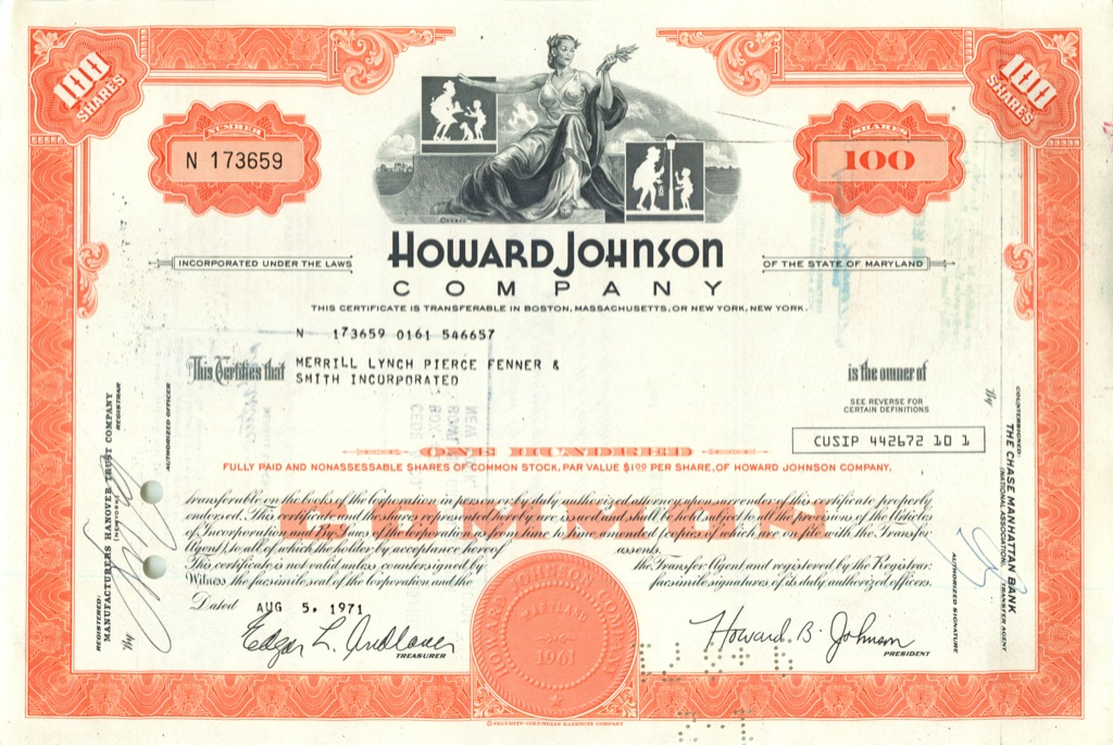 100 акций «Howard Johnson» 1971 года (США)