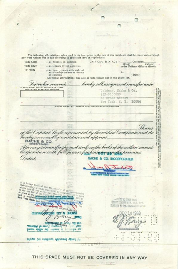 100 акций «Pan American Sulphur Company» 1968 года (США)