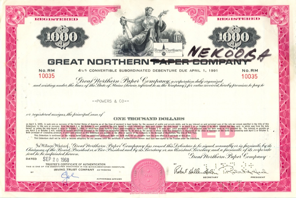 Акции «Great Nortern Paper Company» 1968 года (США)