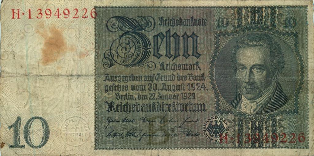 10 рейхмарок 1929 года (Германия)