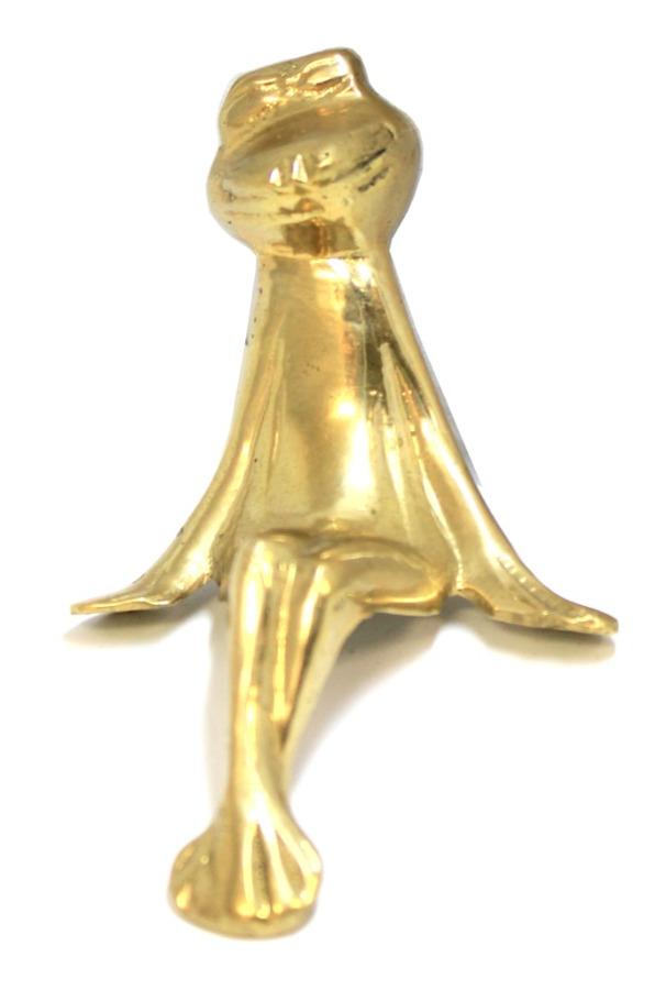 Фигурка наугол полки «Лягушка», латунь, 10 см