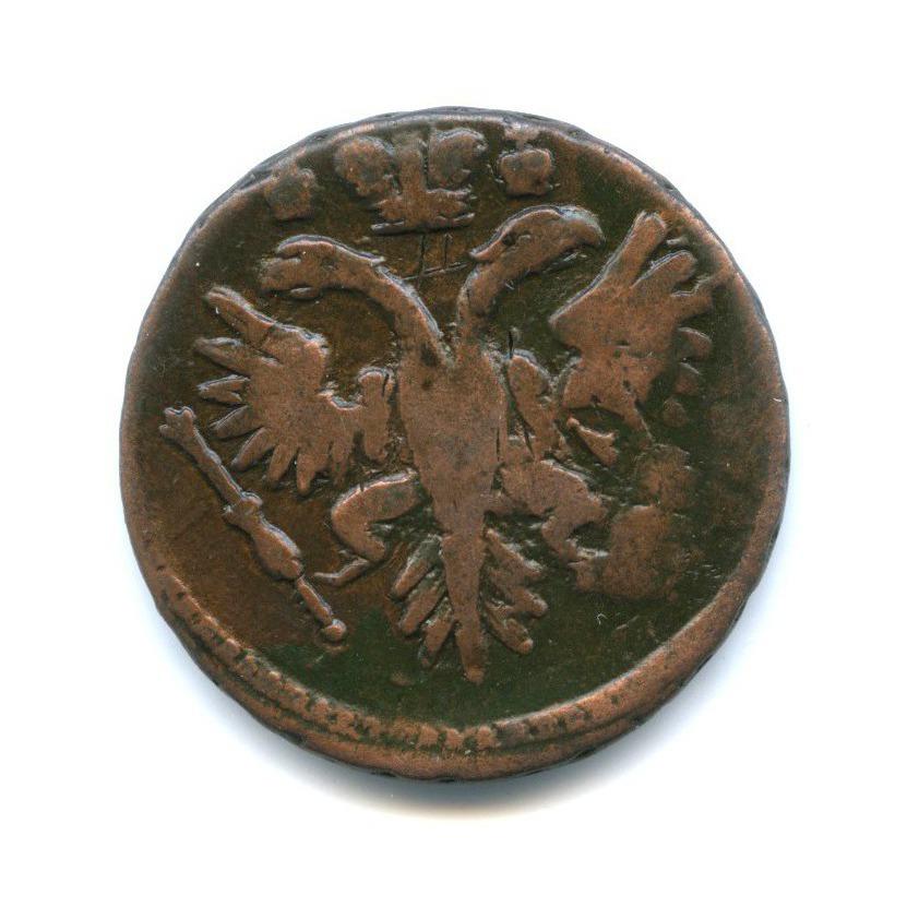 Денга (1/2 копейки), перечекан скопейки Петра I 1731 года (Российская Империя)