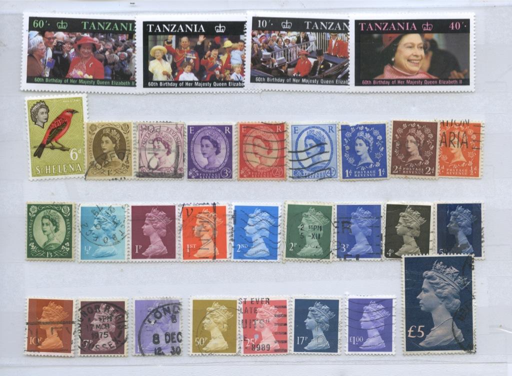 Набор почтовых марок (Танзания, Великобритания)
